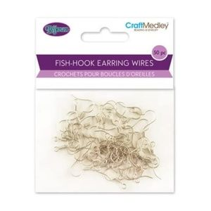 "50 Silver Fish-Hook Earring, 0.75"" inch"